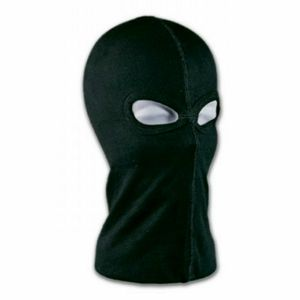 2-Loch Sturmhaube, Schwarz, 100% Baumwolle, Sturm Maske, Ski Maske, gesäumt