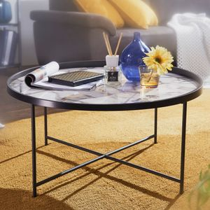 WOHNLING Design Couchtisch Rund Ø 76 cm mit Marmor Optik Weiß | Wohnzimmertisch Metallbeine Schwarz | Beistelltisch