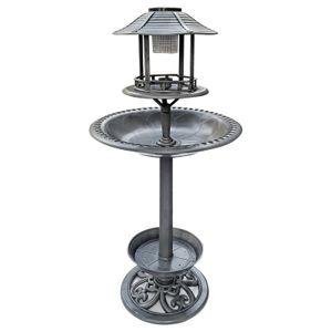 DRULINE Vogelbad Vogeltränke groß mit Standfuß Vogel Futterstelle Vogelhaus Tränke Blatt Design Dekorative Garten Tränke Bad mit  Vögeln auf der Wasserschale Vogeltränke Mit Solarlampe