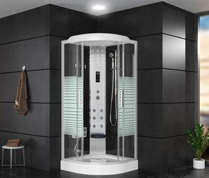 OIMEX Arielle II LED Massage Fertigdusche Duschkabine  Duschtempel Echtglas 90cm Bluetooth Schwarz