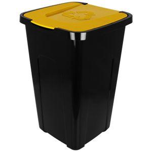 Abfalltonne 50L mit Klappdeckel schwarz/gelb Recycling Mülltonne Mülleimer Abfalleimer