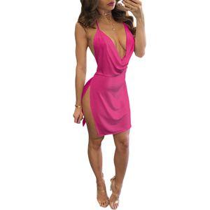 Sexy Frauen Minikleid Plunge V-Ausschnitt aermellos Backless Spaghetti Streap Split Solide Schlank Party Festes Kleid M
