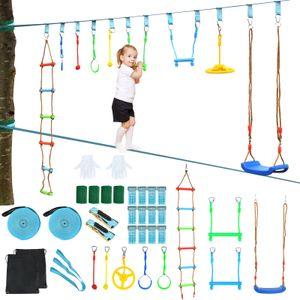 COSTWAY 15M Kinder Slackline hängende 9 Hindernisse, Klettergerüst Ninja-Hindernis-Set Trainingsgerät 300kg Tragkraft, Hindernisparcours für Garten, Outdoor