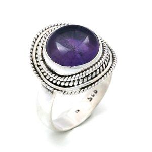 Amethyst Ring 925 Silber Sterlingsilber Damenring lila (MRI 126-01),  Ringgröße:60 mm / Ø 19.1 mm