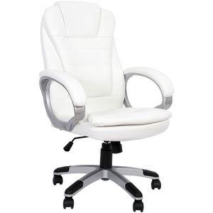Chefsessel Bürostuhl Weiß 120 KG Drehstuhl Schreibtischstuhl Computerstuhl office Bürosessel Gaming Stuhl Schalensitz Kunstleder Racing