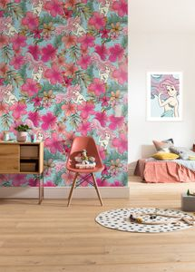 "Komar Vlies Fototapete ""Ariel - Pink Flower"" - Größe: 200 x 280 cm (Breite x Höhe), 4 Bahnnen"
