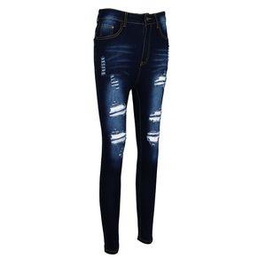 Damen Jeanshose zerissen Röhrenjeans Bleistifthose Hose Denim Lange Hose Slim XL Dunkelblau Zerrissene Jeans