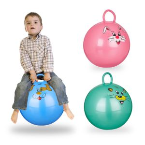 relaxdays 3x Hüpfball Kinder Hopser Sprungball 45 cm Jumping Ball Hopsball Skippy Ball