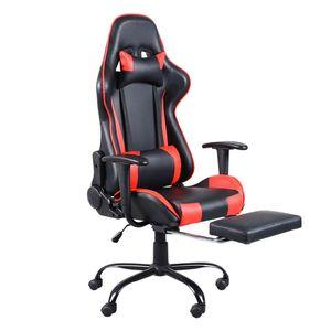 Bürostuhl Drehstuhl Schreibtischstuhl Gaming-Stuhl mit Fußstütze Bürosessel Rot