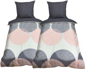 Bettwäsche 135x200 + 80x80 cm Baumwolle Renforce Rosa Grau Kreise mit Reißverschluss, 4-teilig