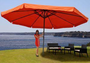 Sonnenschirm Meran Pro, Gastronomie Marktschirm mit Volant Ø 5m Polyester/Alu 28kg  terracotta ohne Ständer