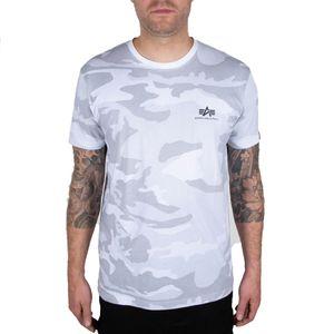 Alpha Industries Herren T-Shirt Basic Small Logo Camo white camo M