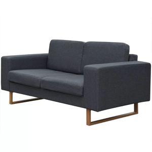 vidaXL 2-Sitzer Sofa Stoff Dunkelgrau