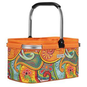 Einkaufskorb 22 Liter floral orange - paisly