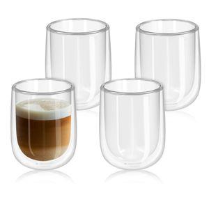 Navaris 4x doppelwandige Gläser 450ml - Thermogläser für Cappuccino Latte Macchiato Tee Wasser Cola Cocktails - 4er Set Kaffeegläser Borosilikat