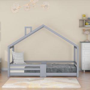 90x200cm Kinderbett Hausbett Kinderzimmer mit Schornstein Kiefernholz Haus Bett ohne Matratze Maximale Gewicht beträgt 80 KG Grau Apartment