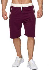 Herren Sweat Shorts Kurze Jogging Hose Bermuda Sporthose H1927, Farben:Rot, Größe Shorts:XL