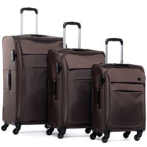 FERGÉ 2er Kofferset Calais Nylon café 3er StoffKoffer Roll-Koffer 4 Rollen Kofferset 2-teilig Weichschale