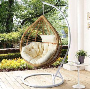 Mirjan24 Hängesessel Bali, Stilvoll Hängekorb, Gartensessel mit Stahlskelett, Rattan, Kokon (Weiß / Natur + Cremefarbig Kissen)