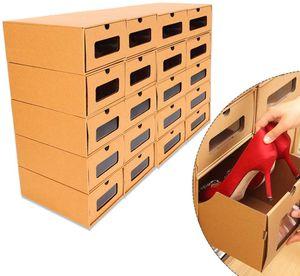 20 Schuhbox Stapelbar Schuhaufbewahrung Set Schuhregale Storage Box Schuhkarton Schuhschachtel aus Kraftpapier Allzweckbox Schuhschachte mit Sichtfenster 35 * 23.5 * 13.5cm