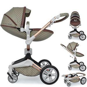 Daliya ® 2in1 360° Turniyo Kinderwagen mit Sportsitz & Babywanne, Babyschalen Adapter, Kombikinderwagen Travel-System Erweiterbar  - Farbe Braun mit Motiv