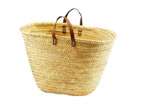 Ibiza-Tasche, aus Palmblatt mit Echt-Ledergriffen