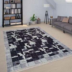 Teppich Wohnzimmer Schwarz Weiß Kuhflecken Muster Karo Muster Patchwork Weich, Grösse:160x230 cm