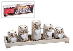 G. Wurm Teelichthalter 5er auf Tablett mit Steinen aus Holz Weiß (B/H/T) 38x12x11cm, 1 Stück(e), Holz, Weiß