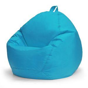 NEUFU Nordische Sitzsackhülle ohne Füllung, Sitzsackbezug Sitzsack Bezug Hülle aus Leinen und Oxford 100cm x 120cm Himmelblau