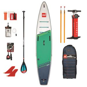 """Red Paddle Co SUP SET VOYAGER+ 13'2"""" x 30"""" x 6"""" MSL + Carbon 50-Nylon 3pc Paddel Cam Lock + Coiled Leash"""
