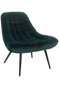 SalesFever Loungesessel mit XXL-Sitzfläche | Bezug Stoff in Samt-Optik | Gestell Metall schwarz | üppige Steppung | B 76 x T 87 x H 86 cm | grün