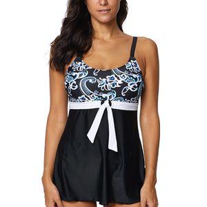 Sexy Dance Damen Übergröße Badeanzüge Tankini Set Push Up Badebekleidung Top + Brief,Farbe:Schwarz,Größe:XXL