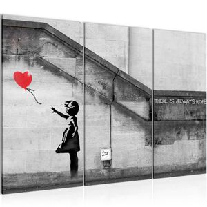 Banksy - Ballon Girl BILD 120x80 cm − FOTOGRAFIE AUF VLIES LEINWANDBILD XXL DEKORATION WANDBILDER MODERN KUNSTDRUCK MEHRTEILIG 301631a