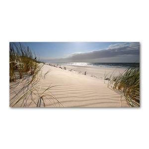 Tulup® Glas-Bild Wandbild aus Glas - 120x60  - Wandkunst - Wandbild hinter gehärtetem Sicherheitsglas - Dekorative Wand für Küche & Wohnzimmer - Landschaften - Ostsee Strand - Beige
