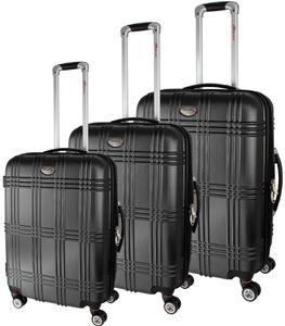 3er BRUBAKER Koffer-Set aus ABS - Reisekoffer - Erweiterbar - Schwarz