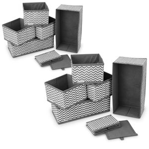 Navaris Aufbewahrungsboxen Organizer Ordnungssystem Stoffboxen - 12 Stück in verschiedenen Größen - für Kleiderschrank und Schubladen - faltbar