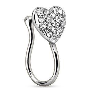 Nasenpiercing Nasenring Fake Piercing Herz Heart Zirkonia Kristalle Nasenclip Clip On Autiga® silber