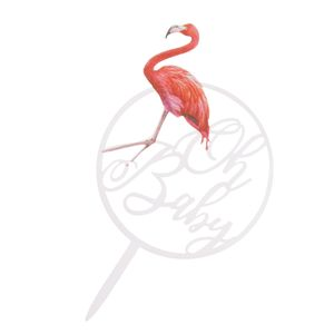 Flamingo Acryl Kuchen Topper Kindergeburtstagsfeier Baby Shower Dekoration C 17 x 9,5 x 0,2 cm