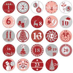 Oblique Unique 24 Adventskalender Sticker Zahlen Aufkleber Weihnachten Basteln Weihnachtsdeko - rot