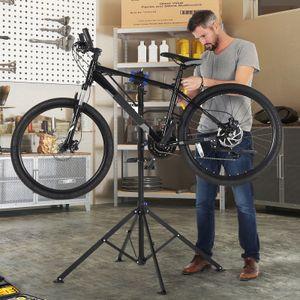 SONGMICS Fahrradmontageständer, Reparaturständer Fahrradreparaturständer Lenkerhalter Werkzeugschale leicht, tragbar, schwarz-blau SBR061B01