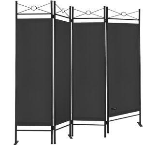 Casaria Paravent Raumteiler Lucca 180x163 cm 4 tlg Trennwand Verstellbar Sichtschutz, Farbe:schwarz