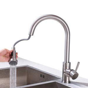 Wasserhahn Küche Ausziehbar Küchenarmatur mit Brause 360° drehbar Spültischarmatur Edelstahl Mischbatterie Einhebelmischer Nickel Gebürstet