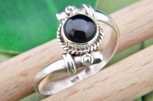 Onyx Ring 925 Silber Sterlingsilber Damenring schwarz (MRI 85-03),  Ringgröße:60 mm / Ø 19.1 mm