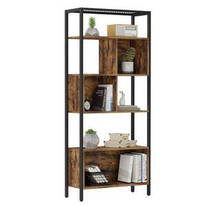 VASAGLE Bücherregal, Lagerregal mit Stahlgestell, für Dekoartikel, Bilderrahmen, Indutrie-Design, vintagebraun-schwarz LBC028B01