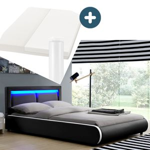 Juskys Polsterbett Murcia 180 x 200 cm Komplett-Set mit Matratze, Lattenrost, LED-Licht, Kopfteil - Kunstleder Bett - groß, massiv, modern & schwarz