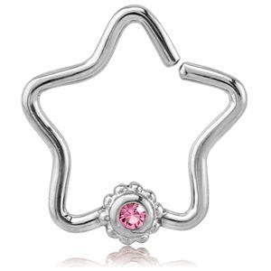 viva-adorno Knorpel Piercing Stern Kristall Ohrpiercing Helix Cartilage Tragus 316L Chirurgenstahl verschiedene Farben Z490,Stern 1x silber / pink