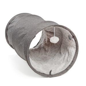 Katzentunnel mit Kuschellfell   grau   35 x 70 cm