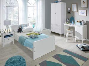 Kinderzimmer Jugendzimmer komplett Set Ole 4-teilig in Landhaus weiß mit Bett Kleiderschrank Schreibtisch und Nachttisch