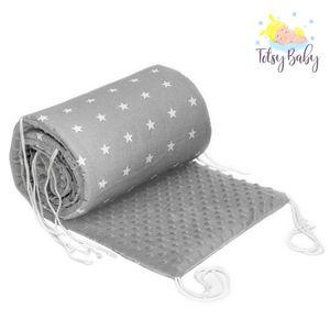 Nestchen Babybett 60x120 Umrandungen - Baby-Bettumrandung Bettnestchen für Kinderbett Beistellbett Gitterbett Umrandung (180 x 30 cm, grau mit weißen Sternen + MINKY hellgrau)