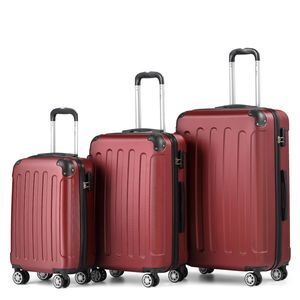 Reise Koffer Reise Koffer Hartschalenkoffer Trolley Reisekoffer M-L-XL SET Weinrot Kofferset 4 Rollen Roll-Koffer Handgepäck
